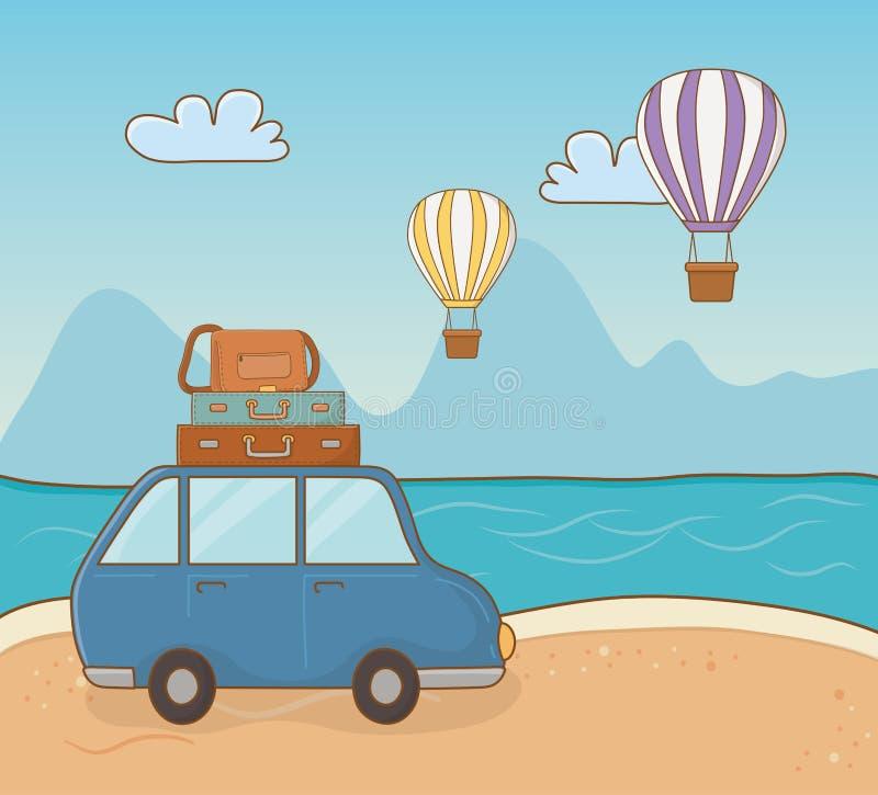 Carro na cena da praia ilustração do vetor