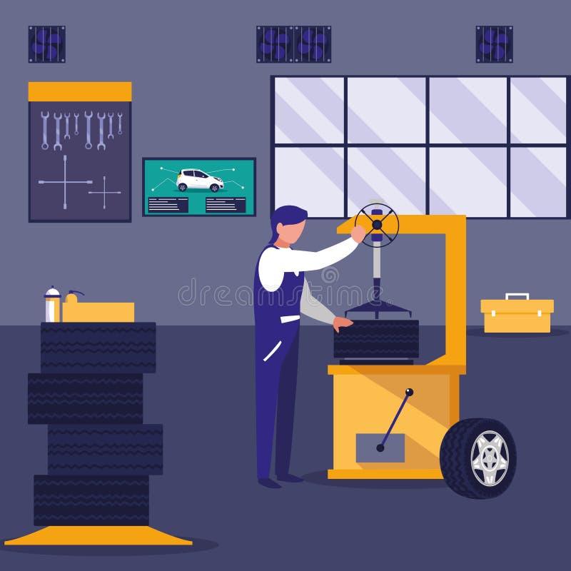 Carro na oficina de manutenção com trabalho do mecânico ilustração do vetor
