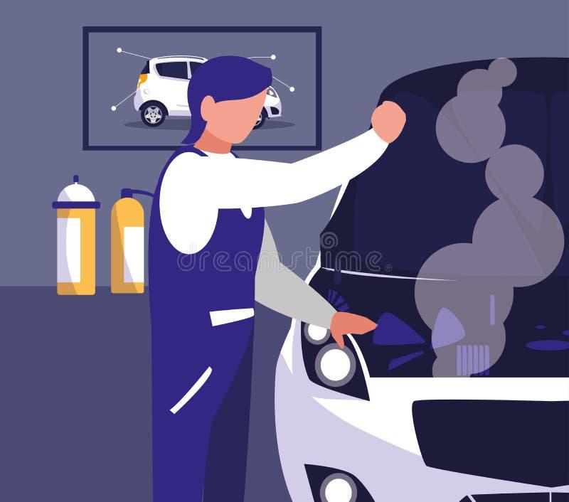Carro na oficina de manutenção com trabalho do mecânico ilustração stock