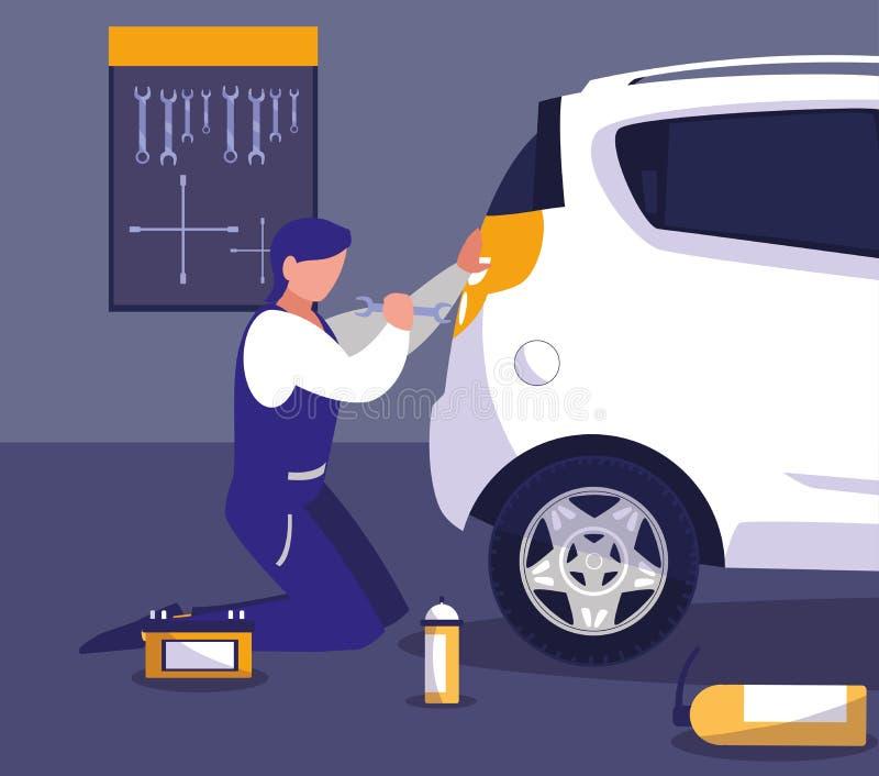 Carro na oficina de manutenção com trabalho do mecânico ilustração royalty free