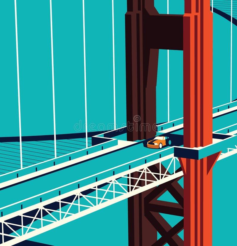 Carro na ponte ilustração royalty free