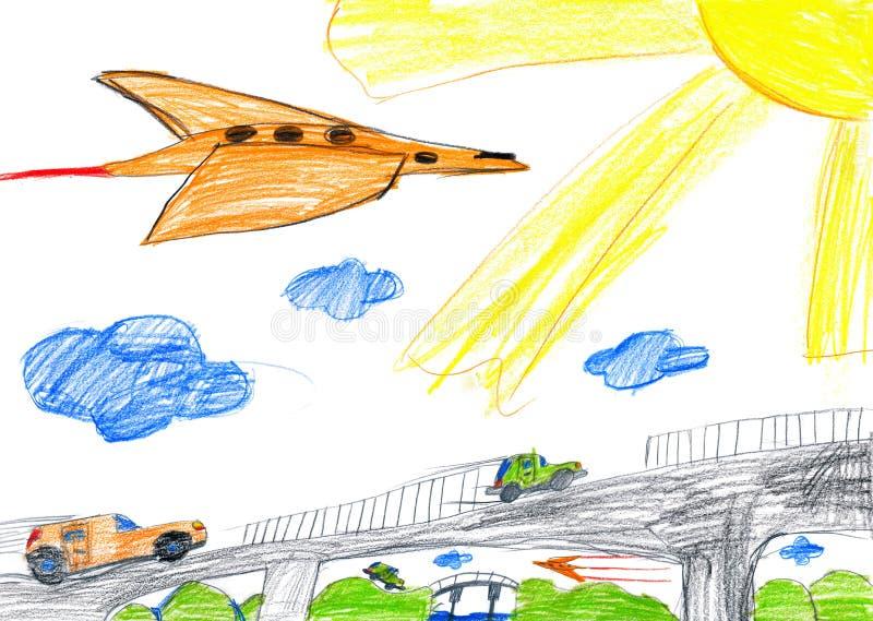 Carro na ponte e no avião Desenho de um pai e de um filho ilustração stock