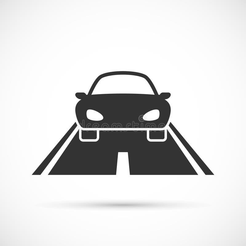 Carro no ícone da estrada ilustração royalty free