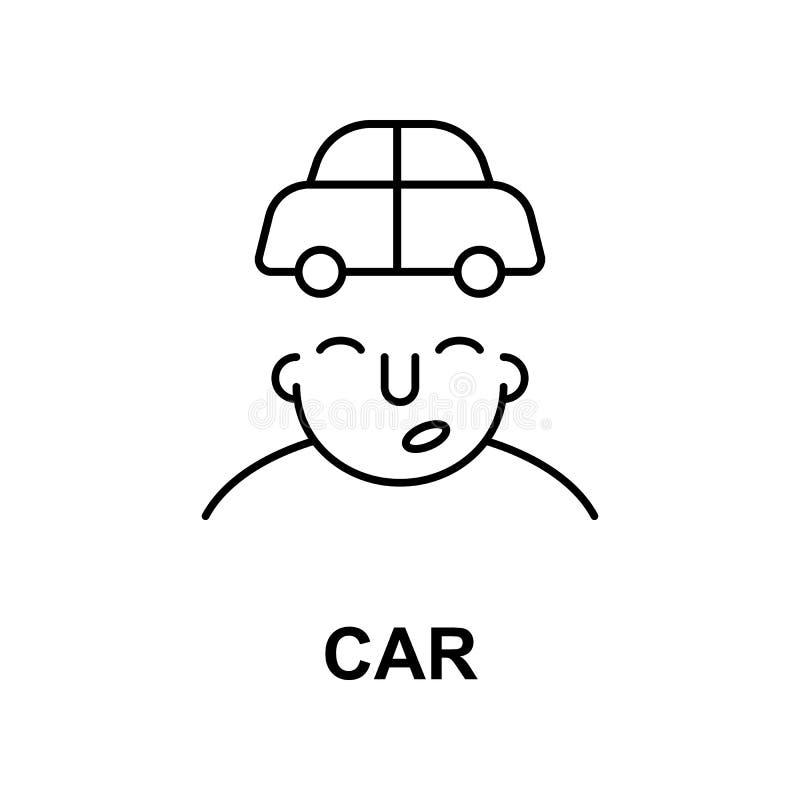carro no ícone da mente Elemento do ícone da mente humana para apps móveis do conceito e da Web A linha fina carro no ícone da me ilustração royalty free