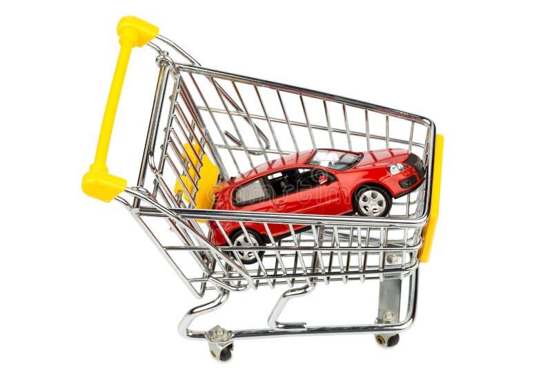 Carro no carrinho de compras foto de stock