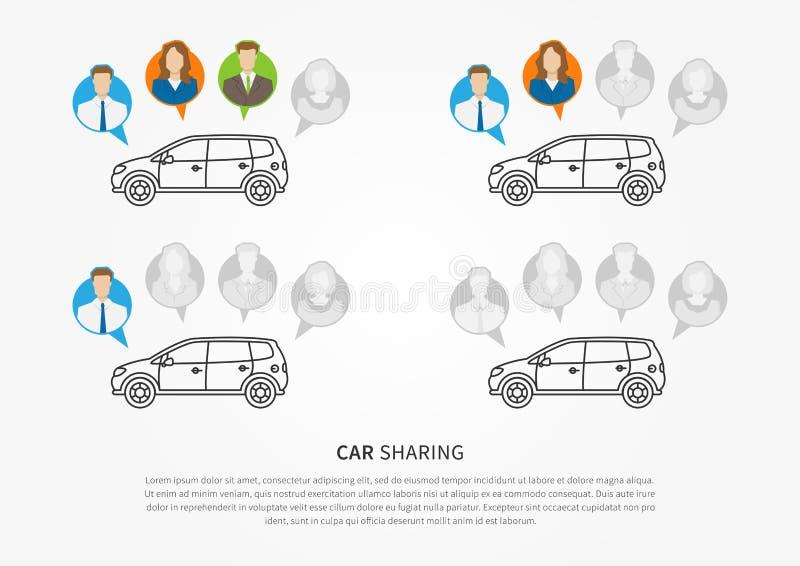 Carro para compartilhar do projeto gráfico ilustração royalty free