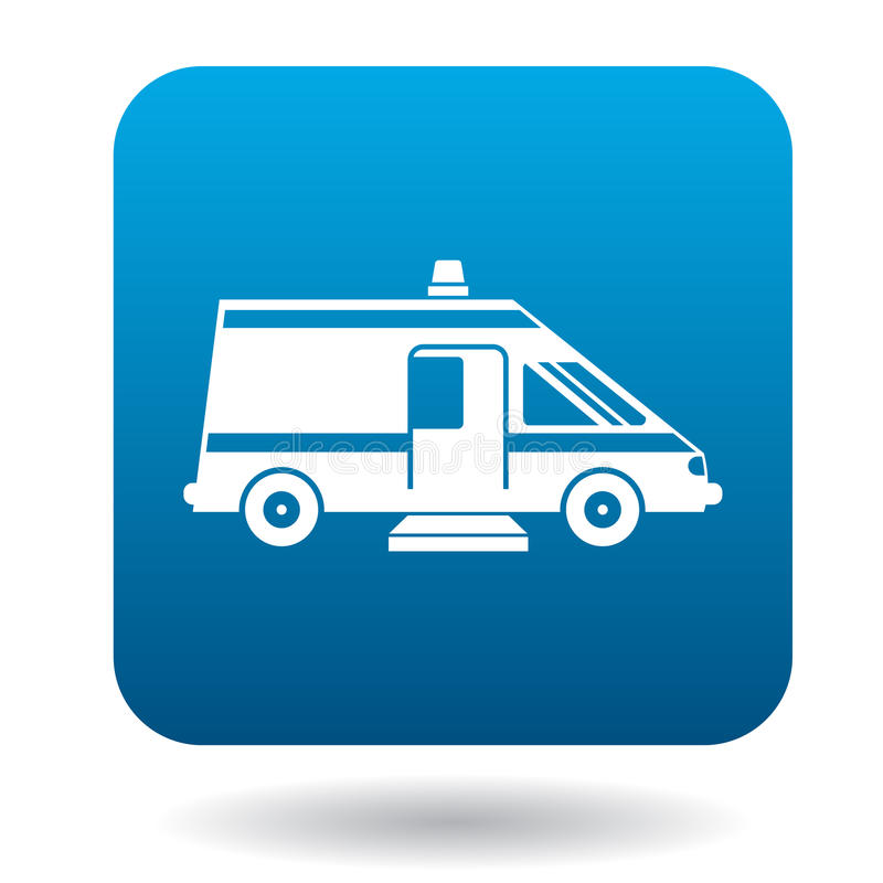 Carro para o ícone dos enfermos, estilo simples da ambulância ilustração do vetor