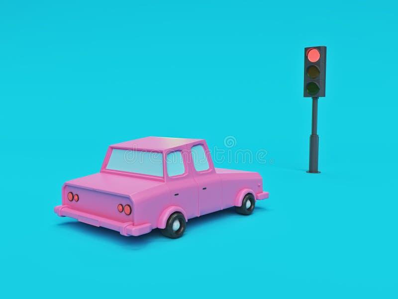 Carro parado no sinal vermelho rendi??o 3d ilustração royalty free