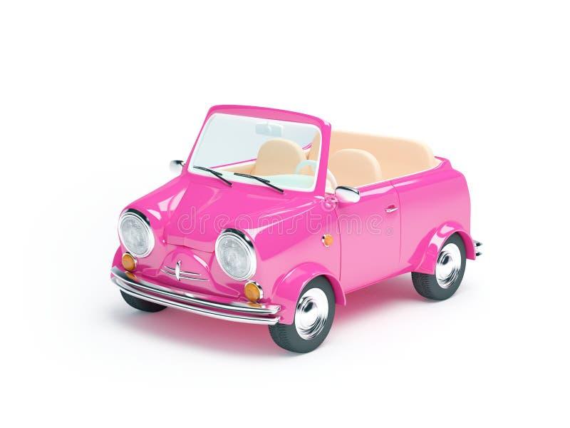 Carro pequeno cor-de-rosa ilustração stock