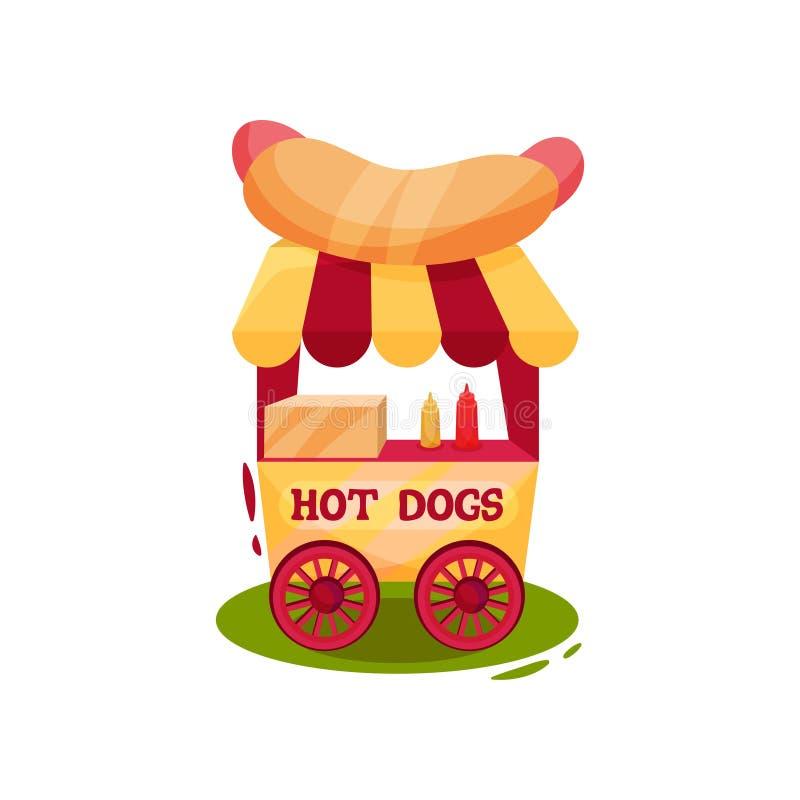 Carro pequeno do carnaval com cachorros quentes Vendendo o trole Fast food Tema do circo e do parque de diversões Projeto liso do ilustração stock