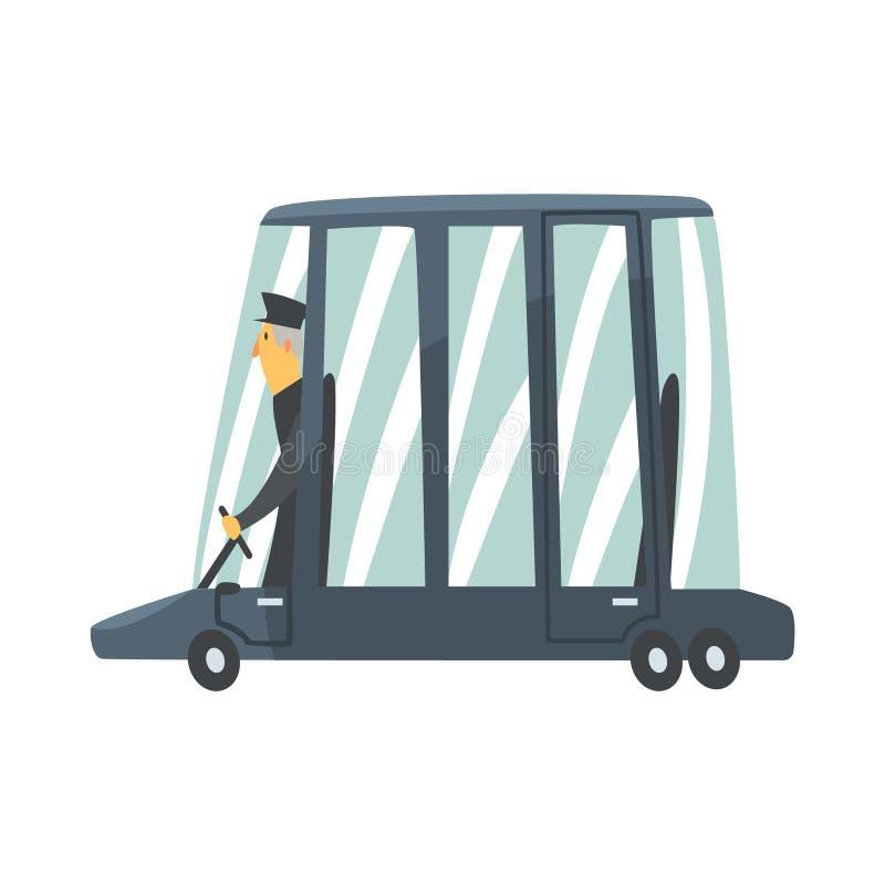 Carro preto da limusina dos desenhos animados com ilustração do vetor do motorista ilustração royalty free