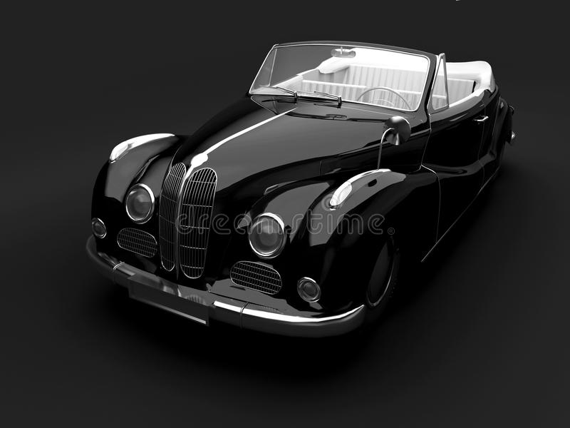 Carro preto do vintage no fundo escuro ilustração royalty free