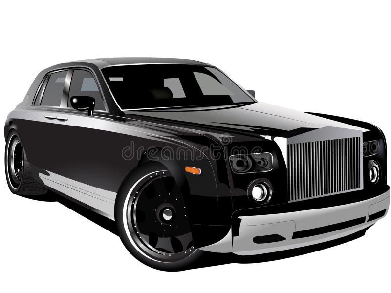 Carro preto luxuoso personalizado do fantasma de rolls royce ilustração stock