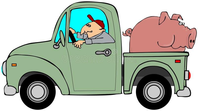 Carro Que Acarrea Un Cerdo Foto de archivo