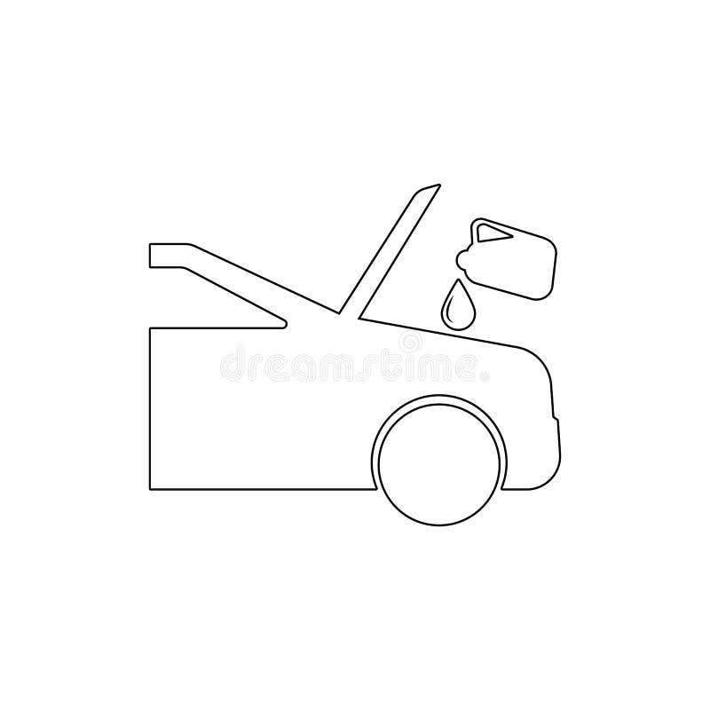 carro que está sendo dado fluido para o ícone do esboço da manutenção Elementos do ?cone da ilustra??o do reparo do carro Os sina ilustração royalty free