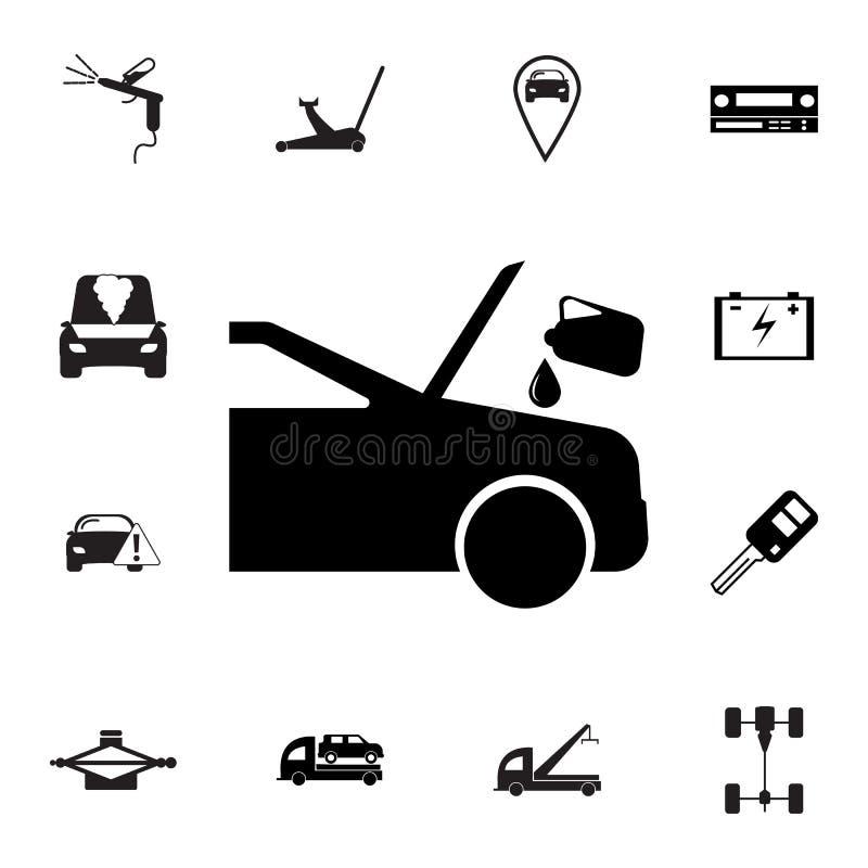 Carro que está sendo dado o líquido para o ícone da manutenção Grupo de ícones do reparo do carro Sinais, coleção do eco do esboç ilustração stock