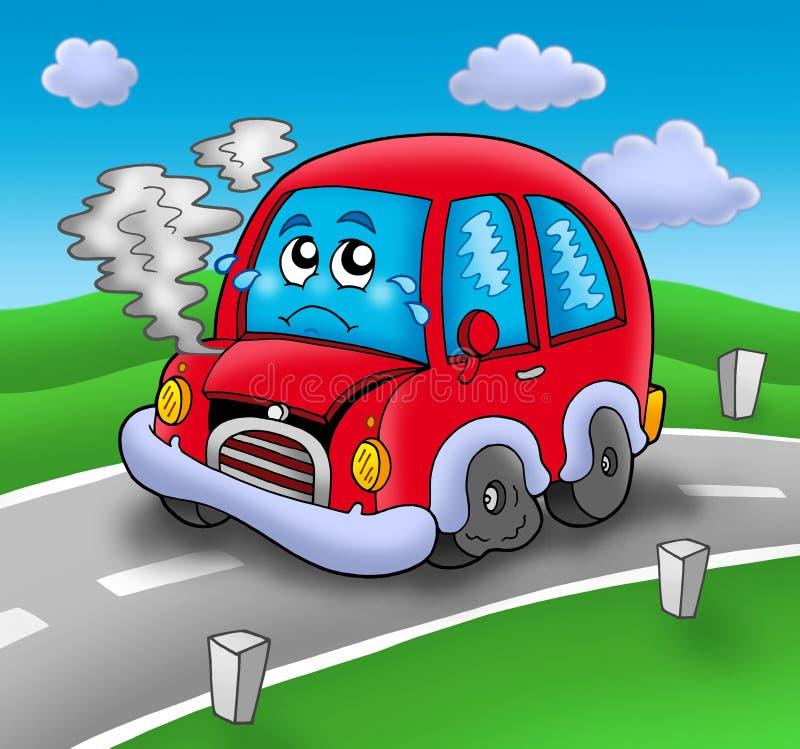 Carro quebrado dos desenhos animados na estrada ilustração stock