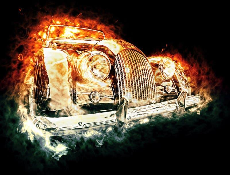 Carro quente do vintage ilustração royalty free