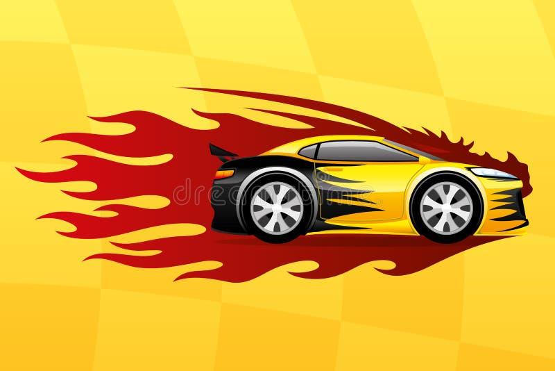 Carro rápido amarelo ilustração stock