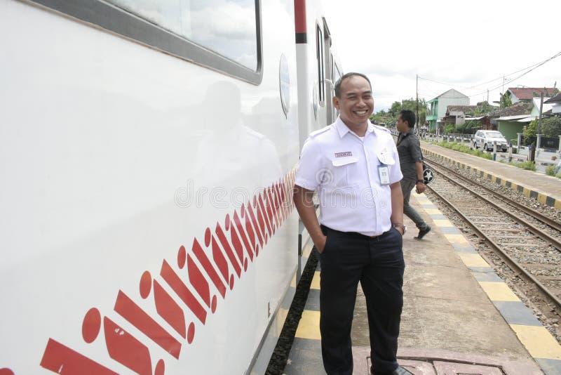 Carro Railbus en las estaciones de Sukoharjo foto de archivo libre de regalías