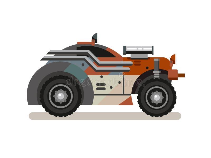 Carro retro ajustado no estilo liso ilustração stock