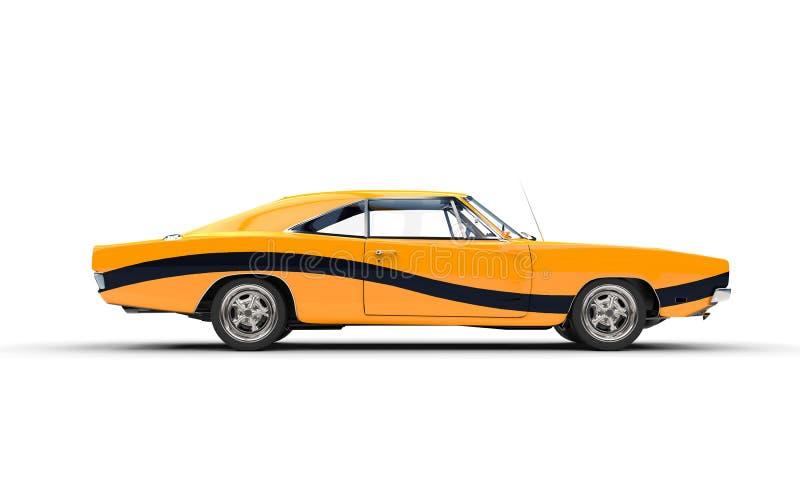 Carro retro amarelo do músculo com listra preta ilustração do vetor
