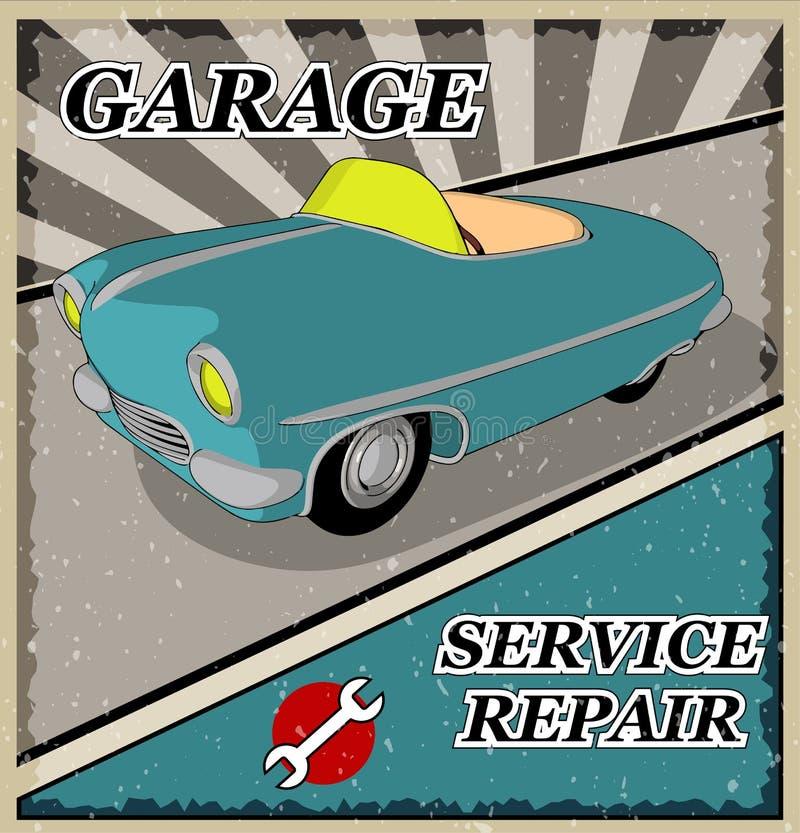 Carro retro azul do vintage ilustração do vetor