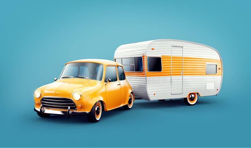 Carro retro com reboque branco Ilustração 3d incomum de uma caravana clássica Conceito de acampamento e de viagem ilustração royalty free