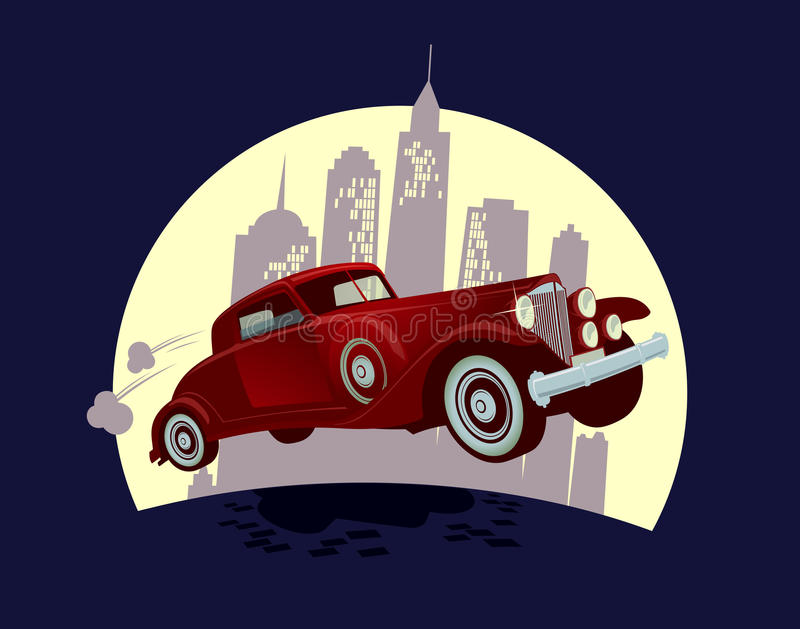 Carro retro contra o projeto dos desenhos animados da cidade da noite ilustração royalty free