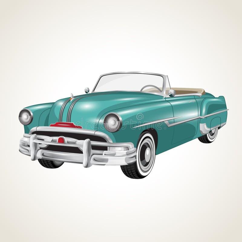 Carro retro do cabriolet do vintage do vetor ilustração royalty free