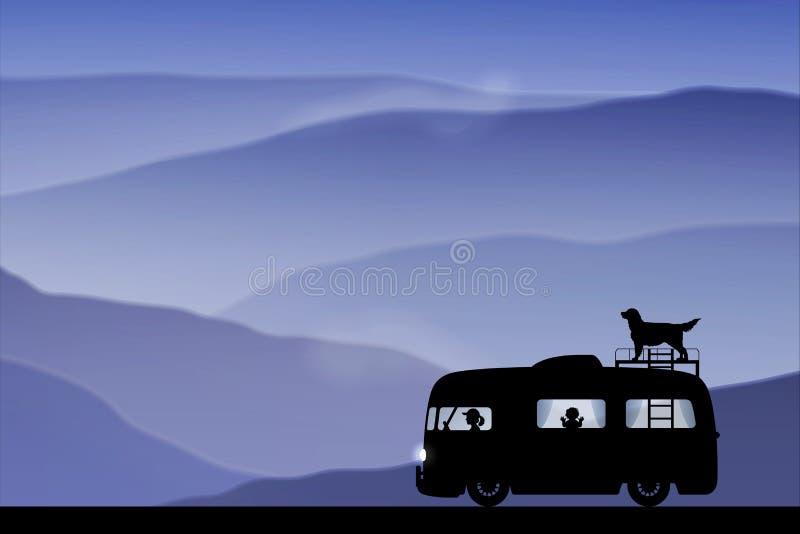 Carro retro dos desenhos animados na estrada no crepúsculo ilustração stock