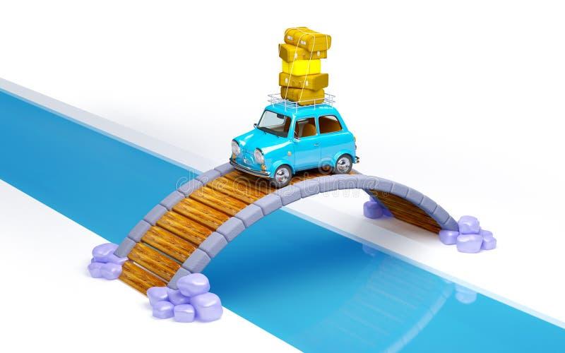 Carro retro pequeno do curso na ponte ilustração stock