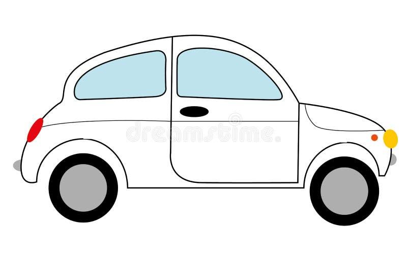 Carro retro pequeno preto e branco da dois-porta da antiguidade do vintage do moderno, carro com porta traseira com um curso pret ilustração do vetor