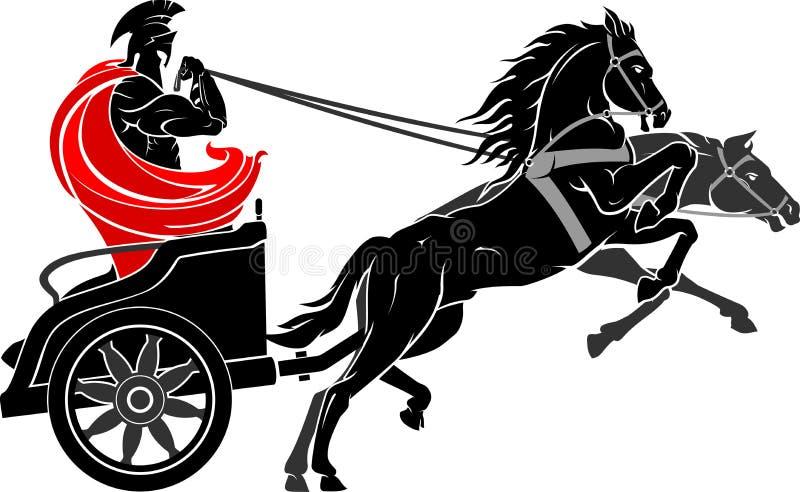 Carro Roman Soldier medieval ilustración del vector