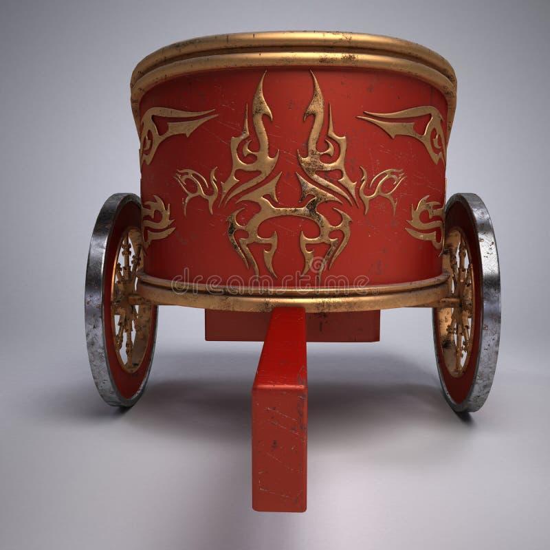 Carro romano rasguñado viejo en fondo del blanco de la pendiente ruedas del metal y decoración del oro ilustración 3D stock de ilustración
