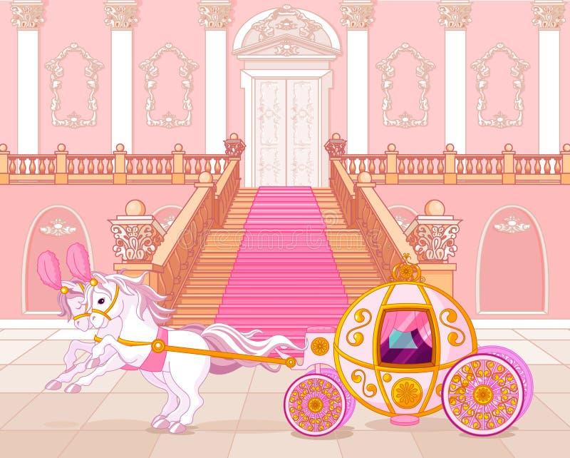 Carro rosado del cuento de hadas ilustración del vector