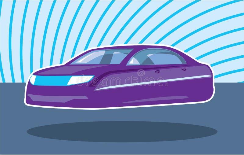 Carro roxo de voo ilustração royalty free