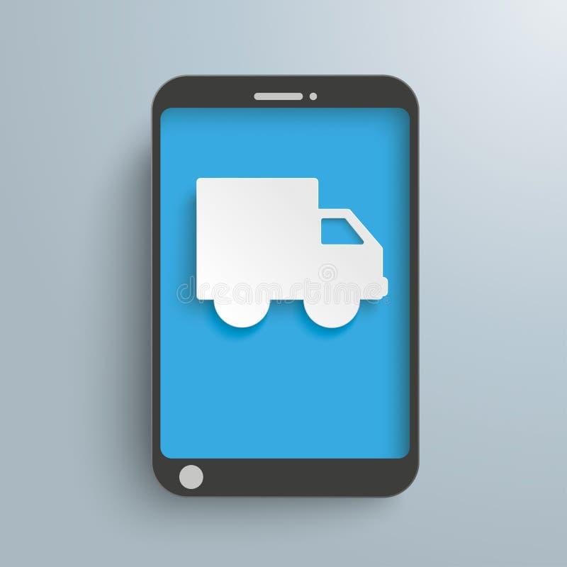 Carro Smartphone do papel de transporte ilustração do vetor