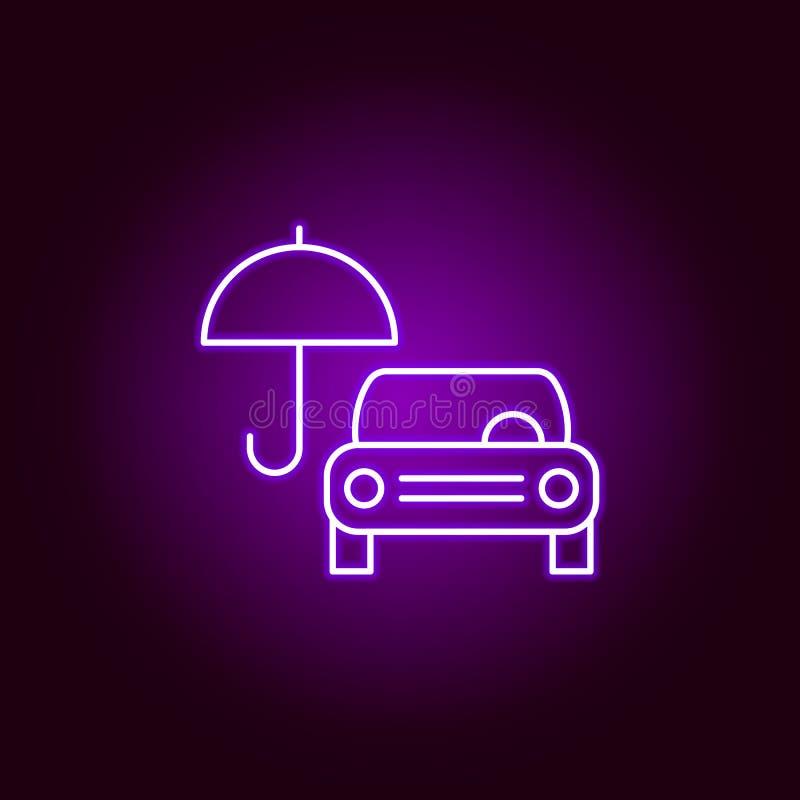 carro sob o ícone do esboço do guarda-chuva no estilo de néon Elementos da ilustração do reparo do carro no ícone de néon do esti ilustração royalty free
