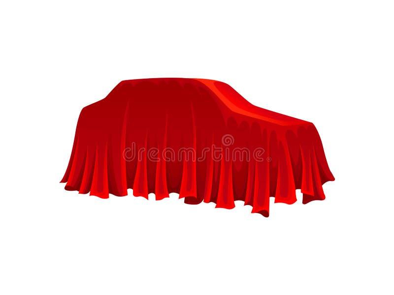 Carro sob o pano de seda vermelho no fundo branco ilustração do vetor
