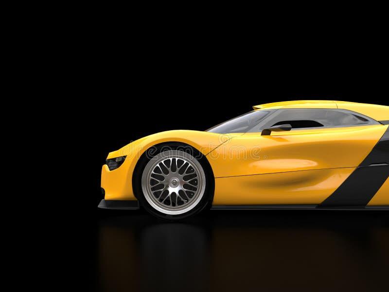 Carro super amarelo brilhante na sala de exposições preta - vista lateral ilustração stock