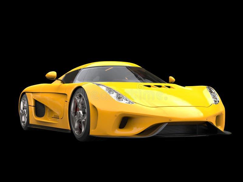 Carro super impressionante do amarelo brilhante do sol ilustração stock