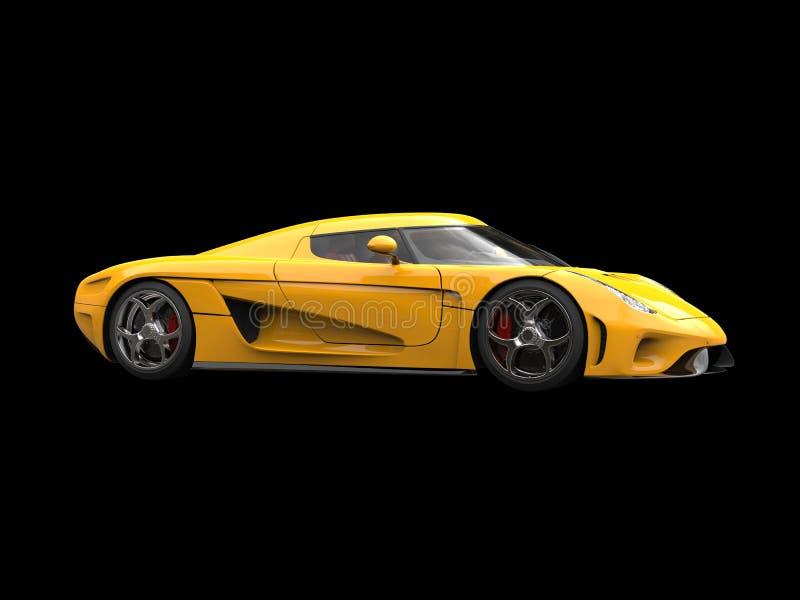 Carro super impressionante do amarelo brilhante do sol no fundo preto ilustração do vetor