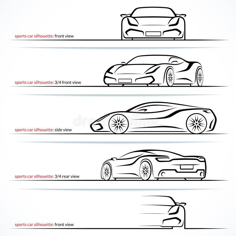 Carro super moderno, silhuetas do vetor do carro de esportes, esboços, contornos ilustração do vetor