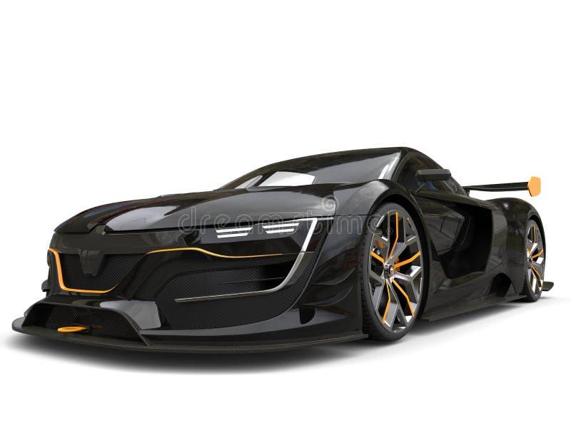 Carro super preto impressionante com acentos amarelos ilustração royalty free