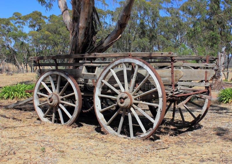 Carro traído por caballo de los viejos colonos australianos imagen de archivo