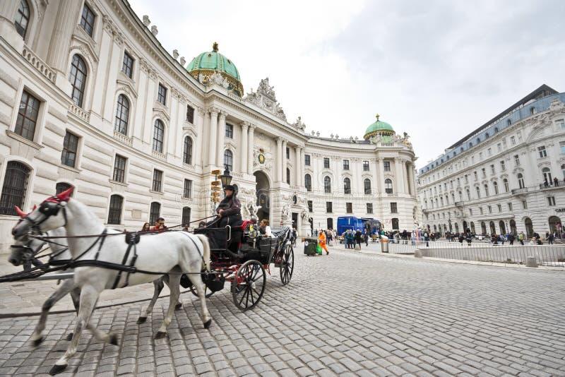 Carro traído por caballo en Viena imagen de archivo libre de regalías