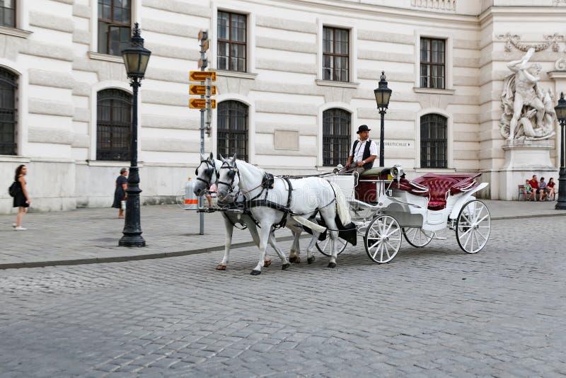 Carro traído por caballo en Viena, Austria fotos de archivo