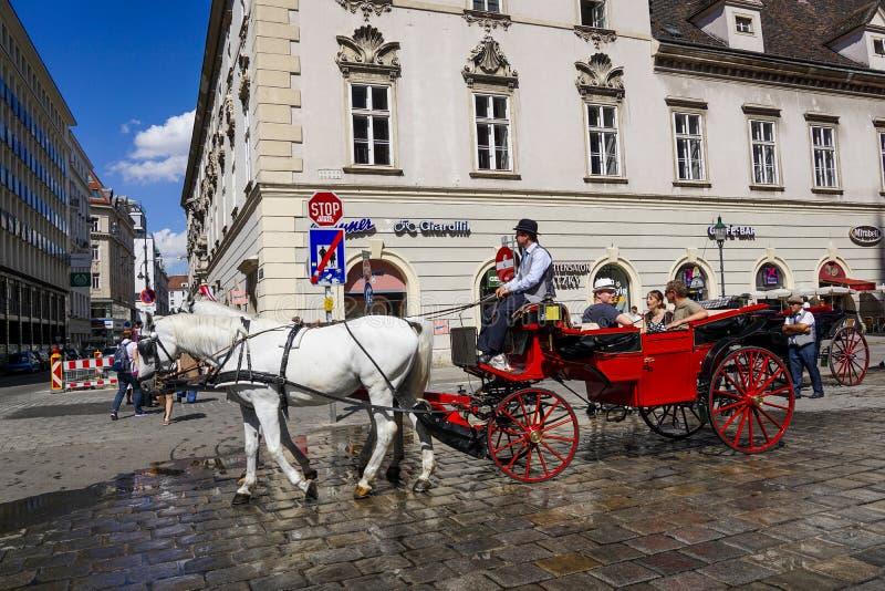 Carro traído por caballo en Viena, Austria fotos de archivo libres de regalías