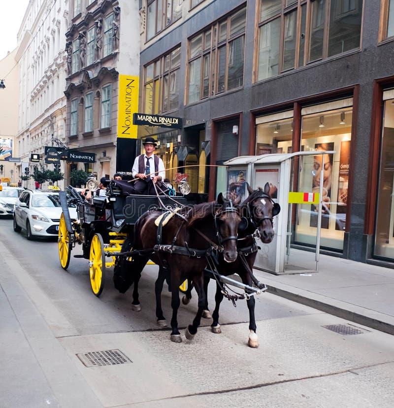 Carro traído por caballo, Viena, Austria imágenes de archivo libres de regalías